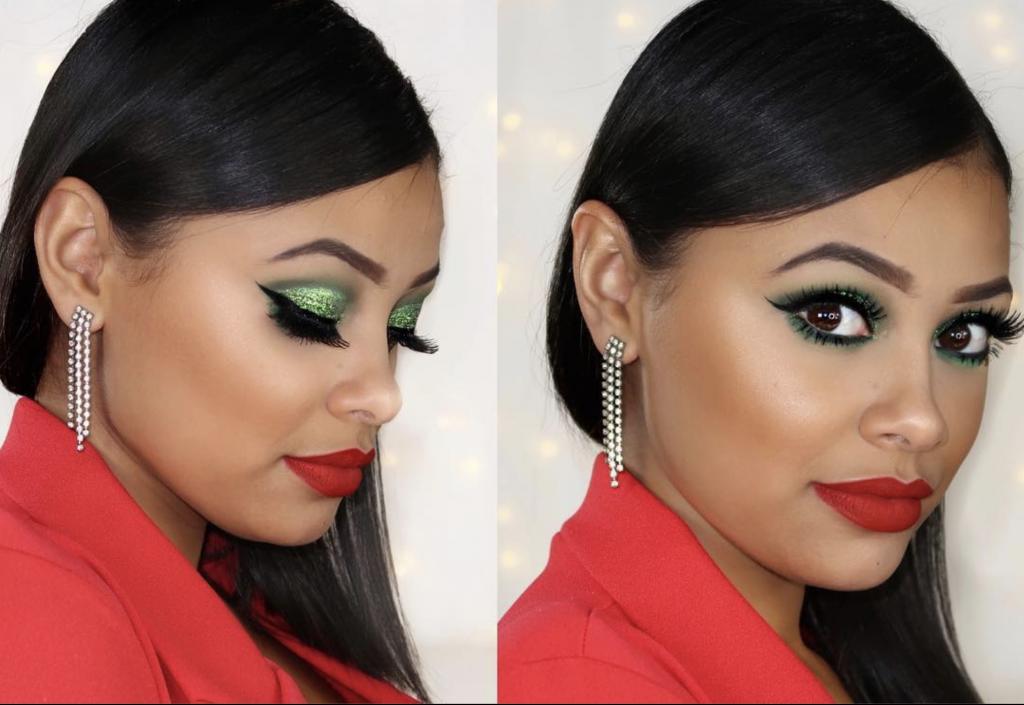 Maquillaje verde labios rojos